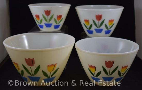 Fire King Tulip nesting 4-pc. Mixing bowl set