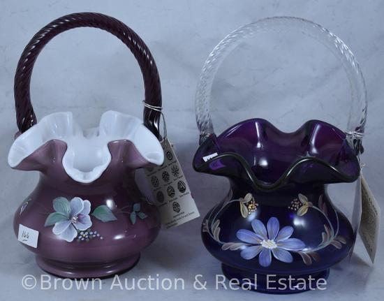 (2) Fenton hand decorated baskets, paper labels