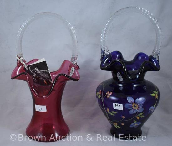 (2) Fenton baskets: 1-Cranberry and 1-hand decorated, paper labels