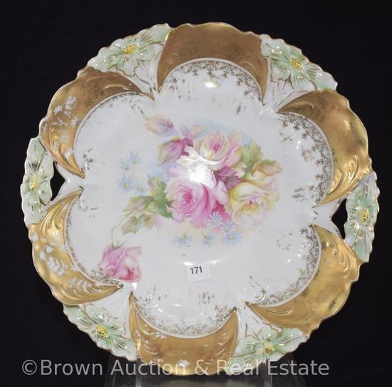 "R.S. Prussia Lily Mold 29 cake plate, Roses, nice gold border, 10.5""d, crown mark"