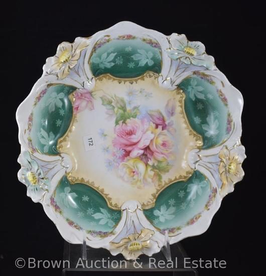 "R.S. Prussia Lily Mold 30 (square version) 10.5""d bowl, Roses, crown mark"
