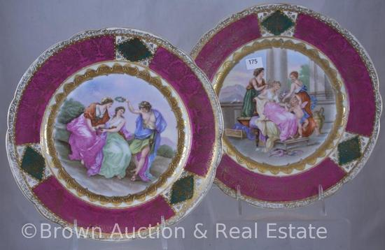 """Pr. Handpainted porcelain 9.5""""d plates decorated with Mythological scenes, green beehive mark"""