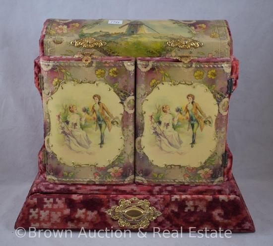 "Velvet covered vanity box with celluloid lid and 2-doors decorations, 10.5""h x 13""w"