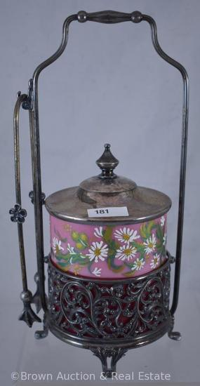 Victorian Pickle castor, pink handpainted Cased glass insert