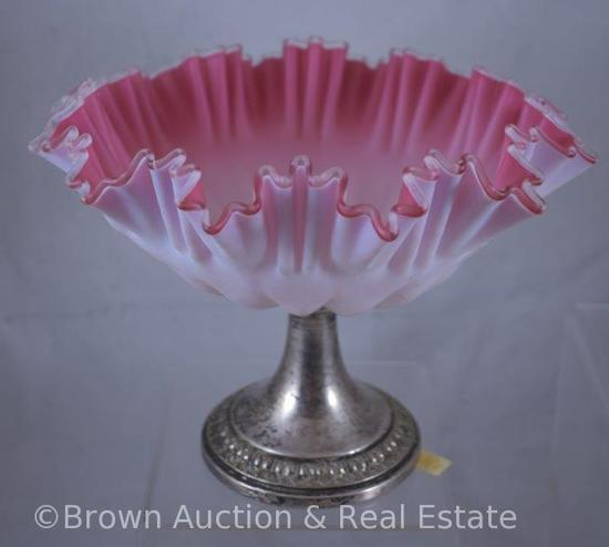"Victorian 6""h compote, pink and white cased glass bowl with silver pedestal base"