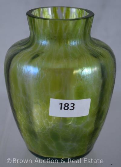 """Loetz Oil-spot 4"""" vase, green"""