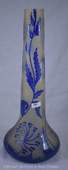 "Cameo Glass 16""h stick neck vase, cobalt blue leaves and plants, inscribed Darcy with incised"