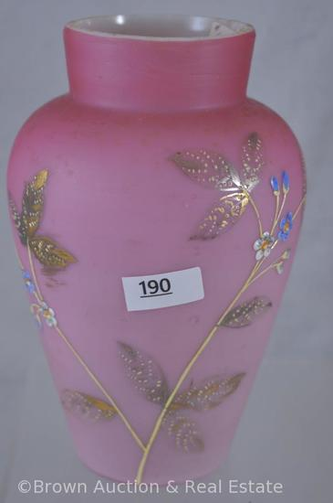"Enameled decorated Peach Blow 7""h vase"