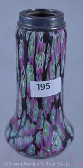 """4.5"""" tall vase in Millefiori technique, Sterling Hallmarks rim"""