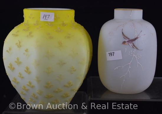 "(2) Art Glass Satin Glass vases: 6"" yellow with Coralene decoration; 5""h white decorated with bird"