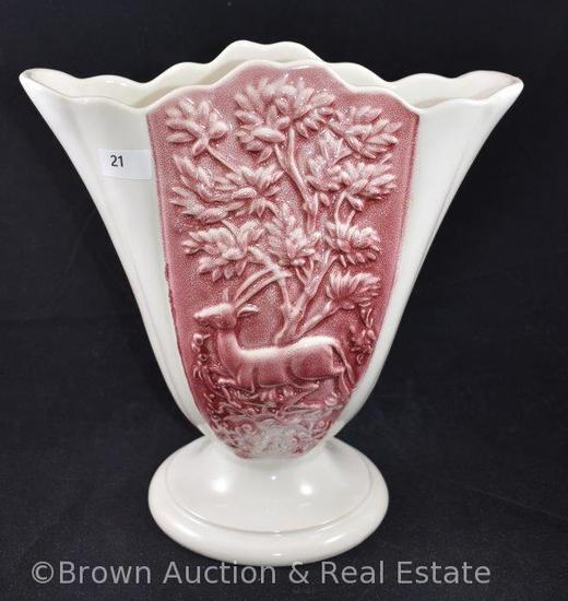 "Hull Antelope 9"" fan vase, white and mauve"