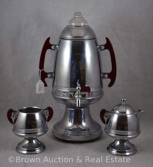 3 pc. Stainless coffee set with bakelite handles, percolator (no cord), creamer and sugar