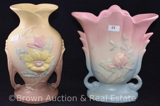 "(2) Hull pottery Magnolia 8.5""h vases, #1 and #2"