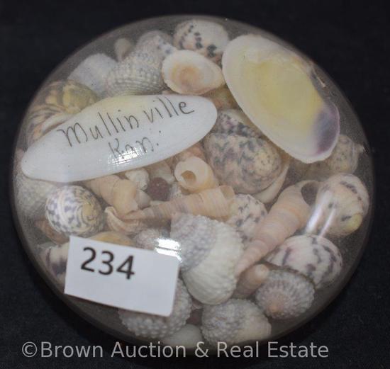 "Handmade ""Mullinville, Kan"" seashell paperweight"