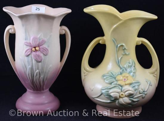 "(2) Hull pottery 7.5""h vases, Wildflower and Iris"