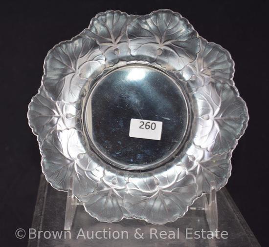 "Lalique France Honfleur Glass Crystal 6""d dish, signed"