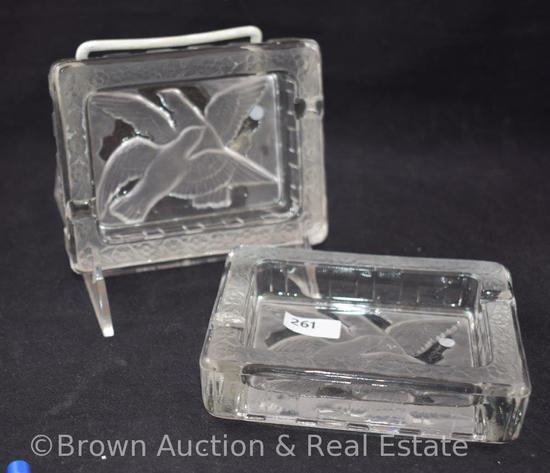 (2) Verlys ashtrays, birds in flight design, signed, 1930's