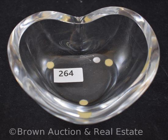 """Orrefors Sweden heart-shaped glass bowl, 4.25""""d, signed"""