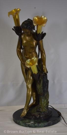 "Bronze Nude Girl lamp by Falconet, 29"" tall, 3 illuminating flowers with translucent glass shades,"