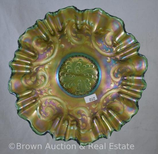 "Carnival Glass Feathered Serpent/Honeycomb and Serpent 9.25""d bowl with 3-in-1-edge, green"
