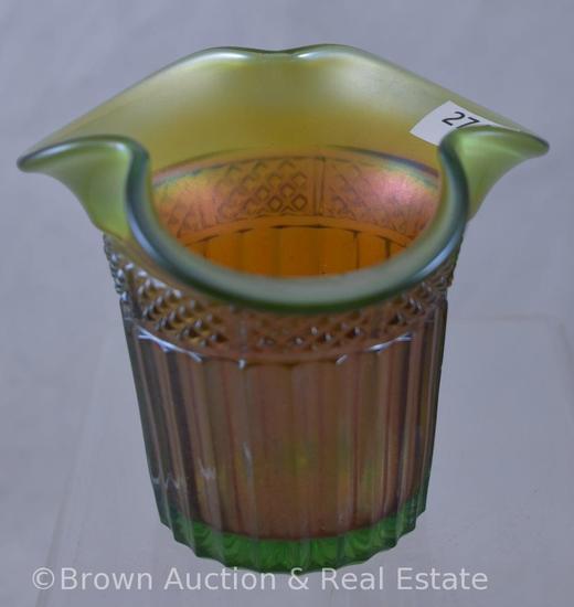 Carnival Glass Lustre Flute hat shape, green to marigold