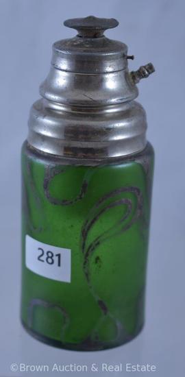 """Art Glass green 5""""h perfume bottle"""