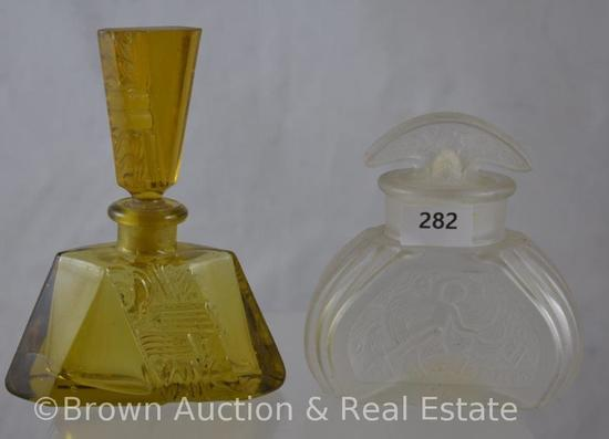 """(2) Art Deco perfume bottles: 1-Melba frosted 3.5""""h with Nude; 1-4.75"""" amber"""