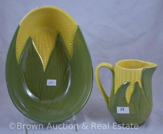 "(2) Shawnee Corn King pcs: 5"" creamer; 7""x9"" oval deep bowl"