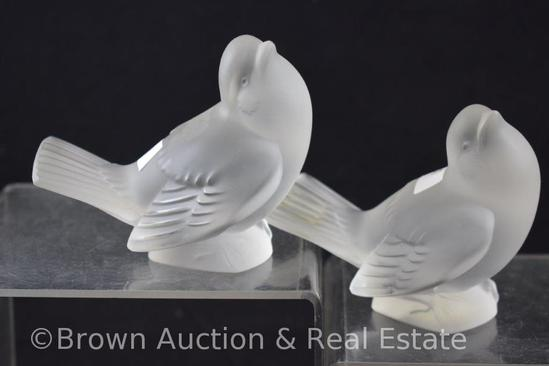 "Pr. Lalique France 3.5""h frosted bird figurines, paper label"