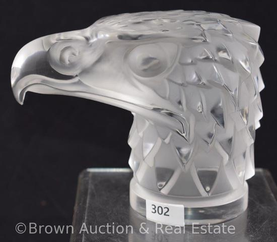 Signed Lalique France Tete D'Aigle frosted Eagle head paperweight