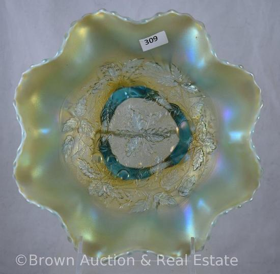 "Carnival Glass Three Fruits Medallion/Meander 8.5""d spatula-ftd. bowl, aqua opal. - Scarce!"