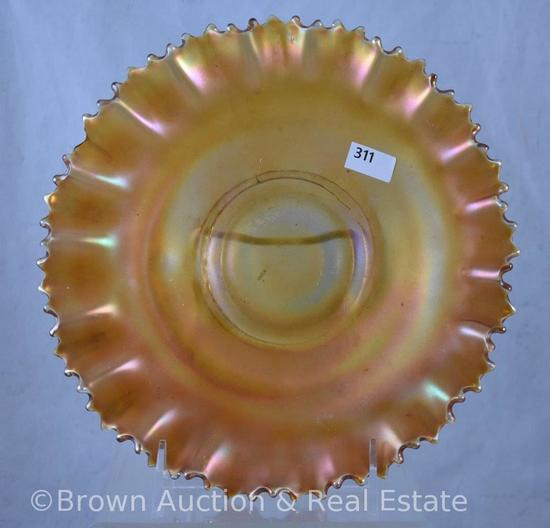 "Carnival Glass 8.5""d bowl, no interior/exterior pattern, marigold"