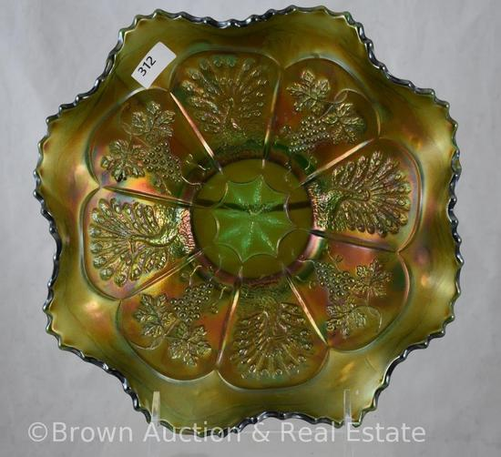 "Carnival Glass Peacock and Grapes 9""d bowl, green"