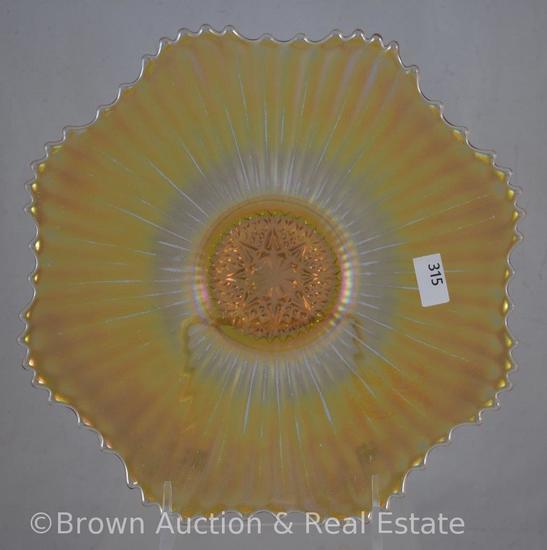 "Carnival Glass Rays 9""d plate with star center, marigold"