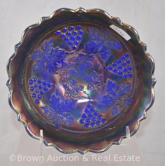 "Carnival Glass Grape and Cable 6""d x 2.5""h bowl, cobalt"