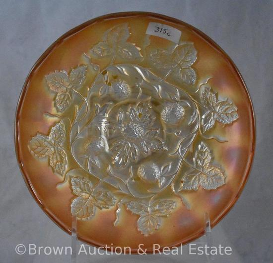 "Carnival Glass Blackberry Wreath 6.5""d bowl, marigold"