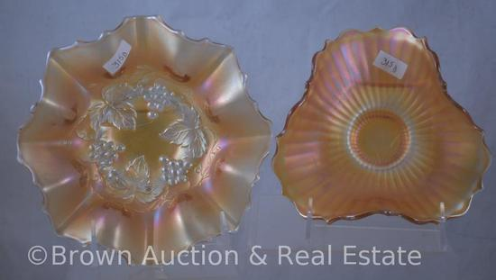 "(2) Carnival Glass marigold bowls: 7""d Golden Grape candy bowl; 6""d Smooth Rays"
