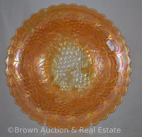 "Carnival Glass Grape bowl, 10.25""d x 3.25""h, marigold"