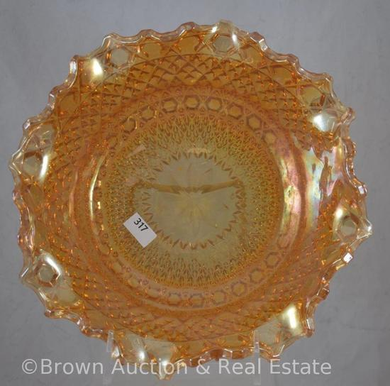 "Carnival Glass 9.5""d x 3""h bowl with diamonds pattern, marigold"