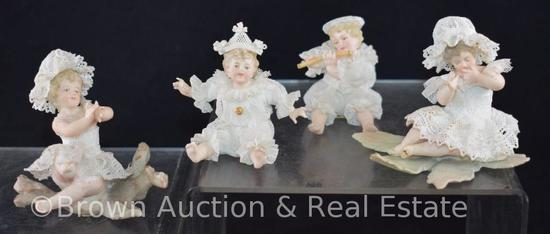 (4) Meissen infant figurines in lacy clothes and hats (No. 133A thru 133D) (some slight damage on