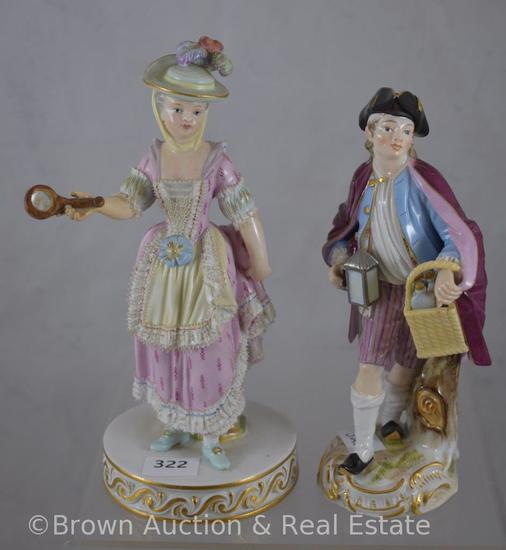 "(2) Meissen figurines: No. 94 Lady with hand mirror, 6""; No. 89 Night Watchman, 5.5""h"