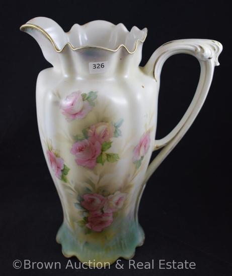 "R.S. Prussia Mold 508 tankard, pink and white roses on white satin finish, 11""h, red mark"