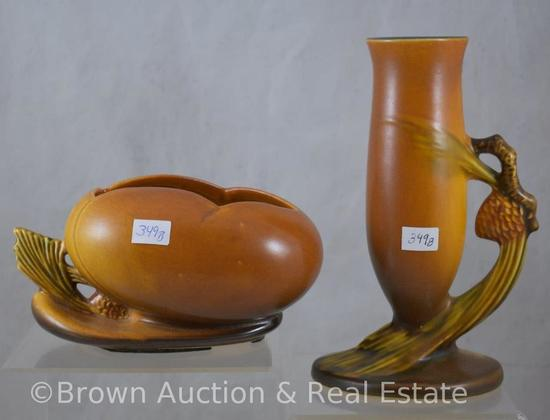 "(2) Roseville brown Pine Cone pieces: 456-6"" bowl (very small chip on pine needles); 112-7"" bud vase"