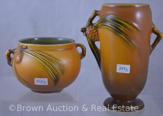 "(2) Roseville brown Pine Cone pieces: 748-6"" vase; 632-3"" jardiniere"
