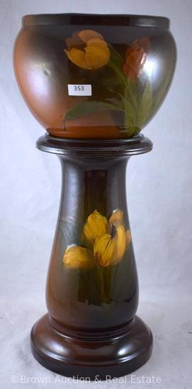 """Weller Louwelsa jardiniere and pedestal decorated with Tulips, 18"""" tall - Sweet size!"""