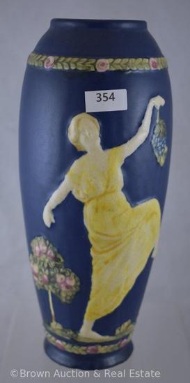 """Mrkd. Weller Blue Ware 10""""h vase"""