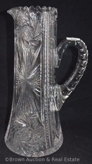 """Cut Glass 11.5""""h tankard, Starburst and Pinwheels dominate"""