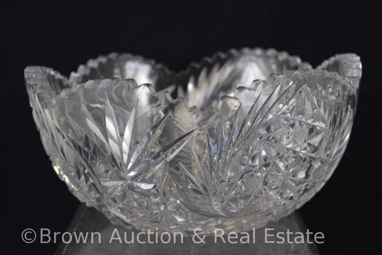 """Cut Glass 4""""h x 8""""d bowl, Fans/Inverted decorated heart shapes, etc."""