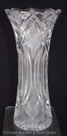 "Cut Glass 10""h vase, unusual nice pattern!"