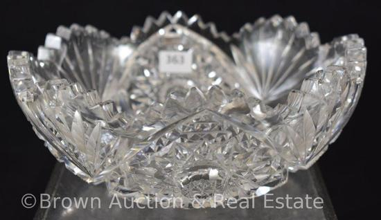 """Cut Glass 3""""h x 7""""d bowl decorated with Fans and Hobstars"""